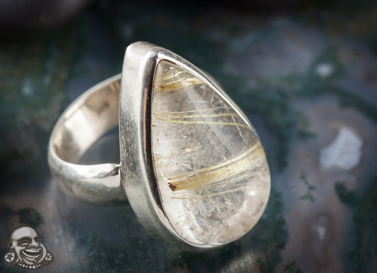 Sterling Silver and Rutilated Quartz Ring (Size 6)