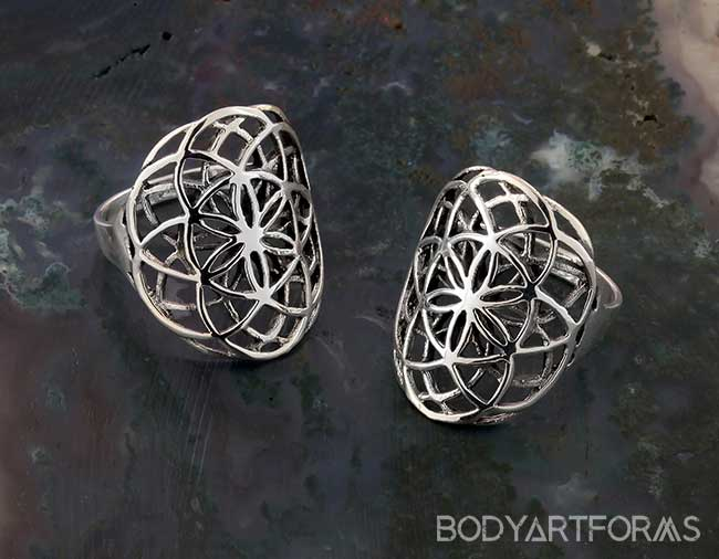 Silver Sacred Flower of Life Ring
