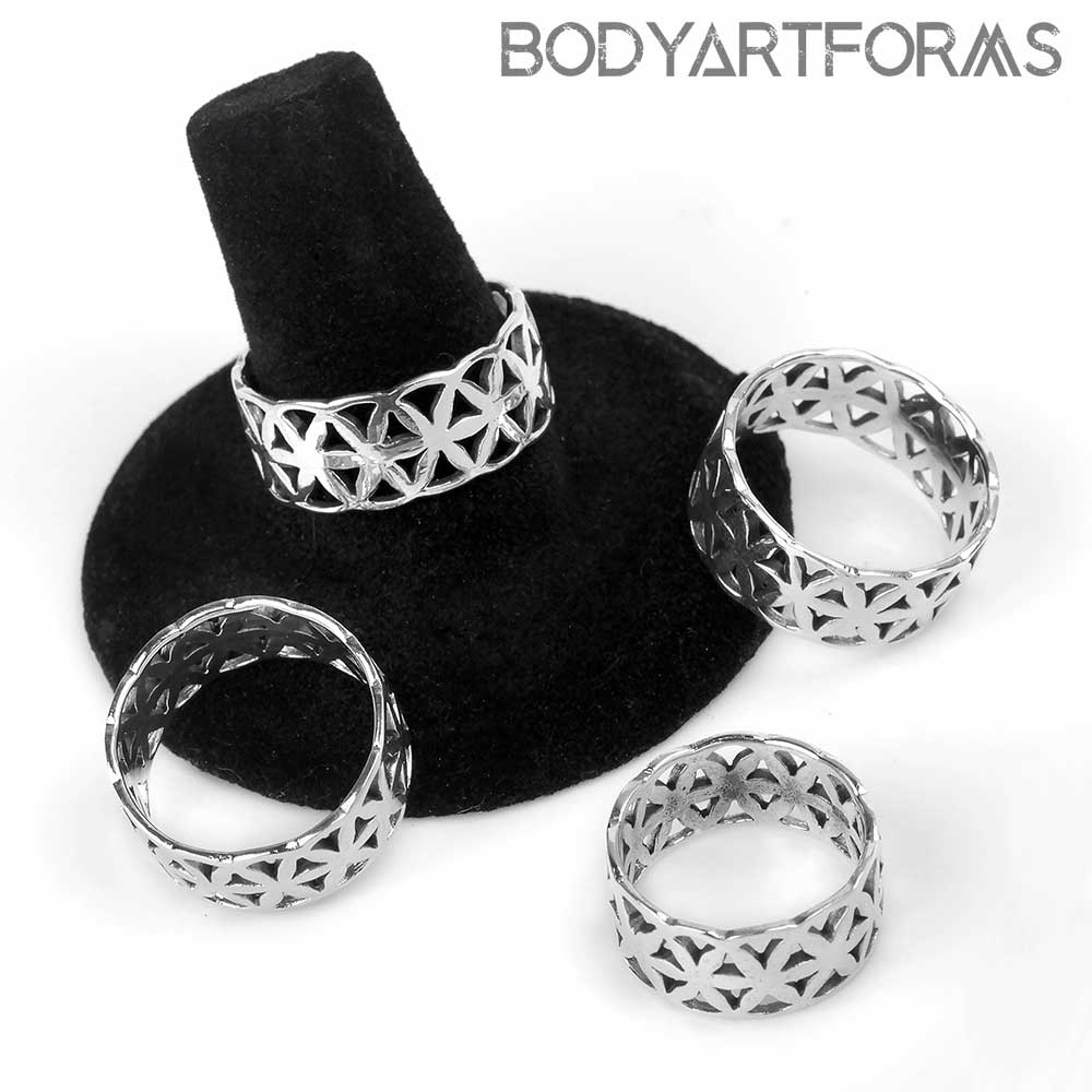 Silver Seed of Life Ring