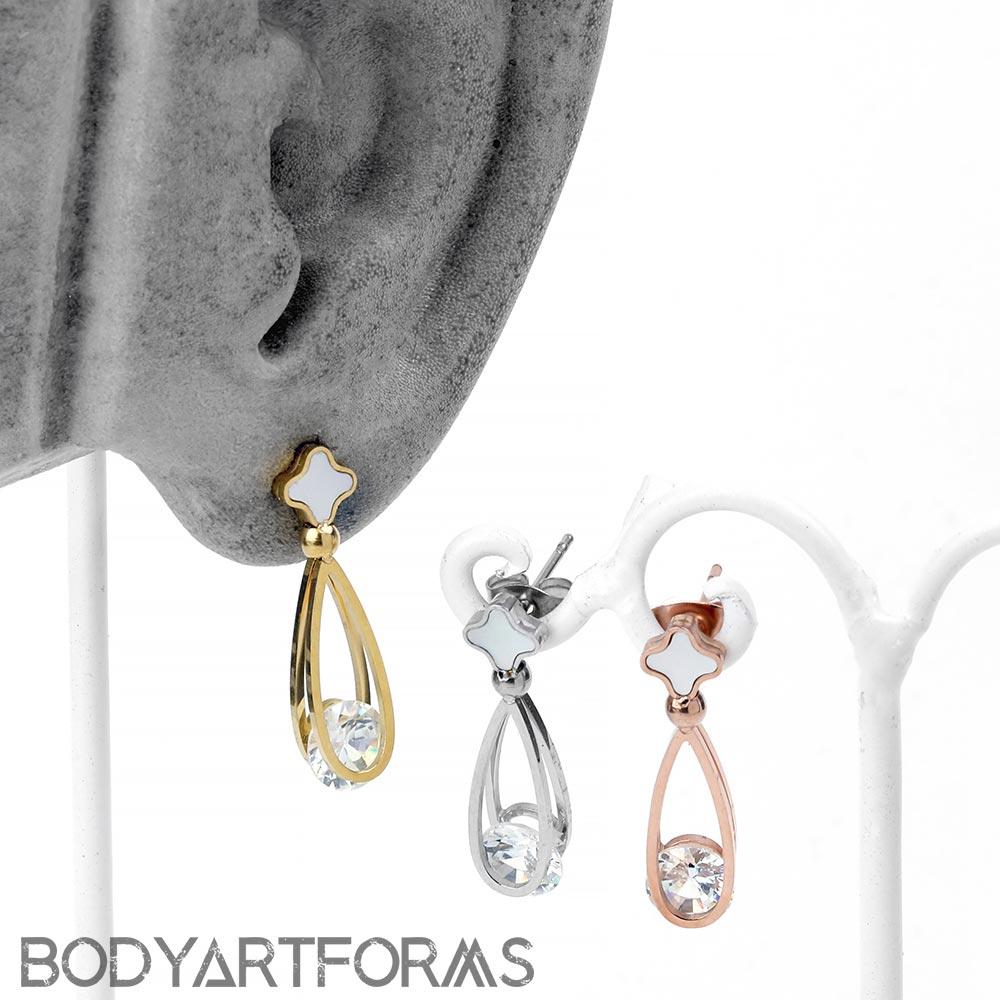Floating Gem Dangle Earrings