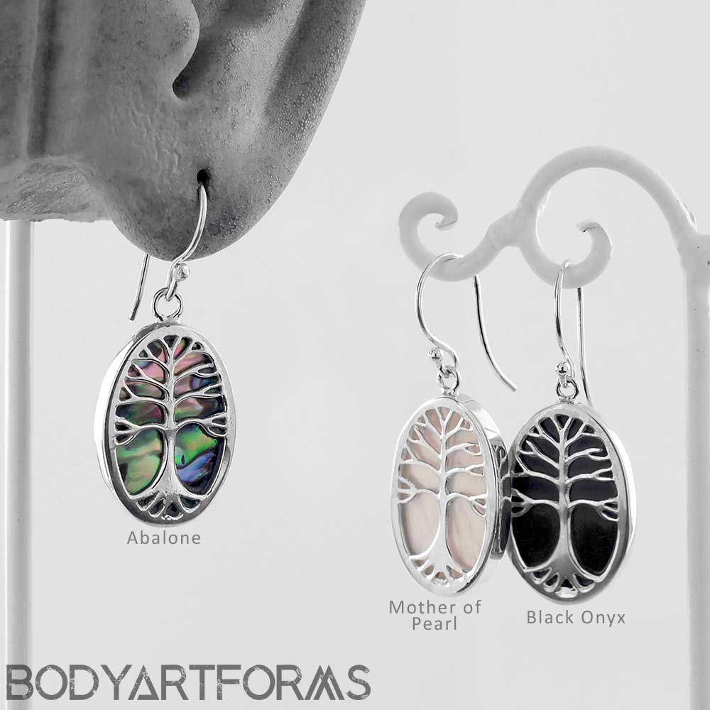 ad41da0f5 Sterling Silver and Shell Tree of Life Dangle Earrings