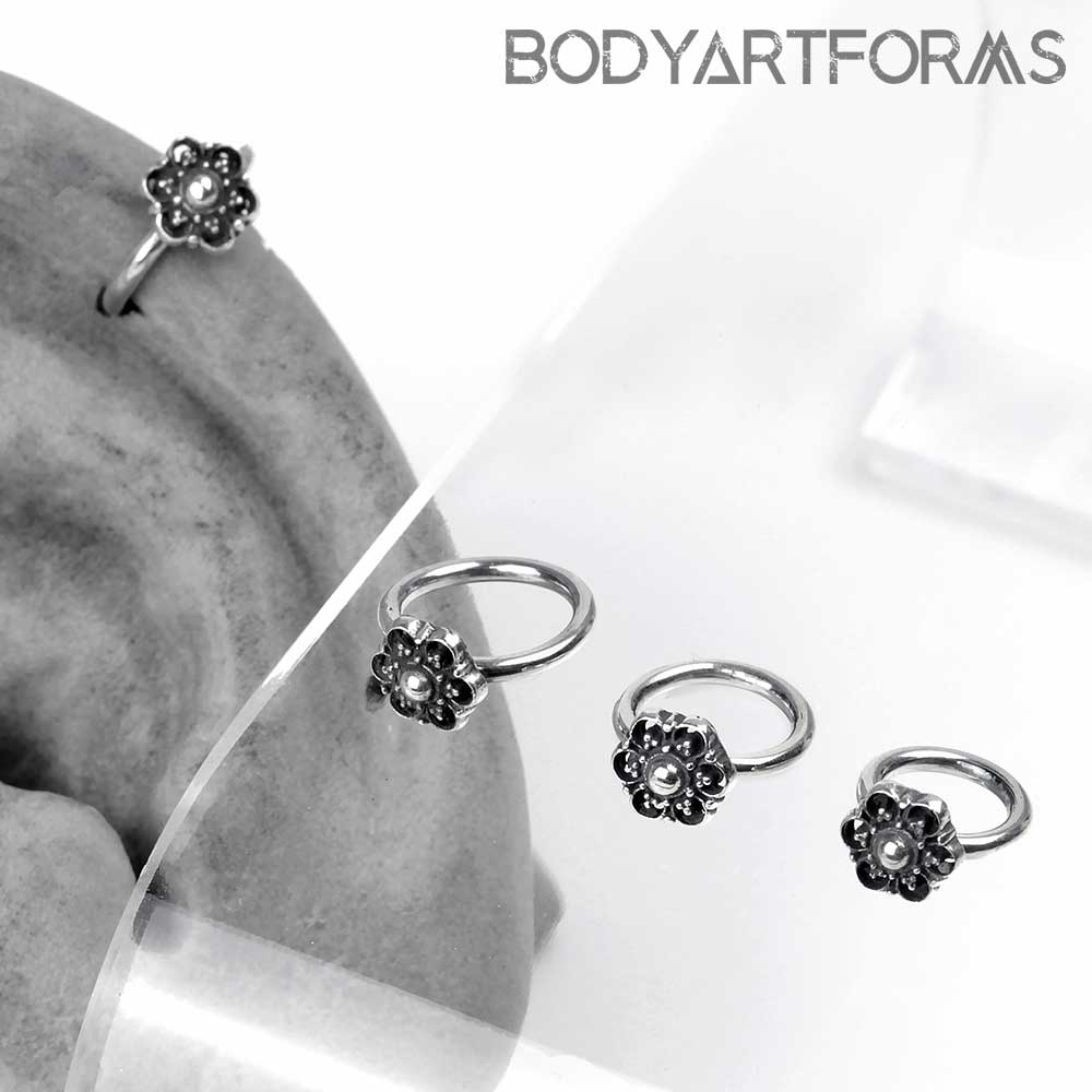 Silver Side Set Beaded Flower Seamless Ring