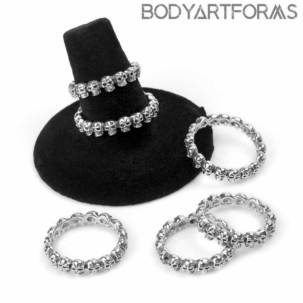 Silver Skull Band Ring
