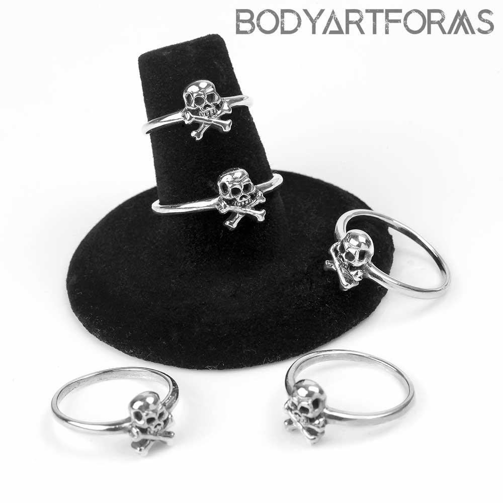 Silver Skull and Crossbones Ring