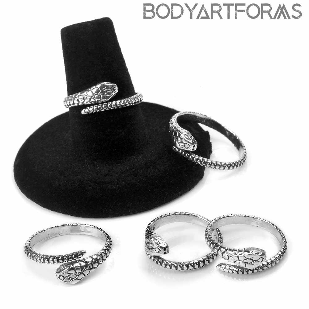 Silver Snake Adjustable Ring