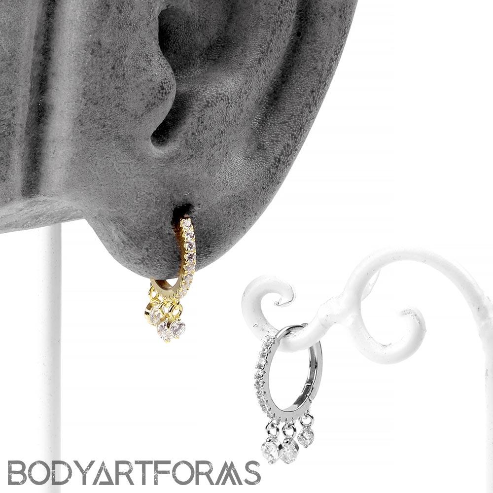 Sparkle Dangle Huggie Earring