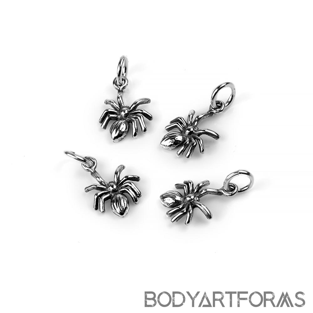 Silver Spider Charm Pendant