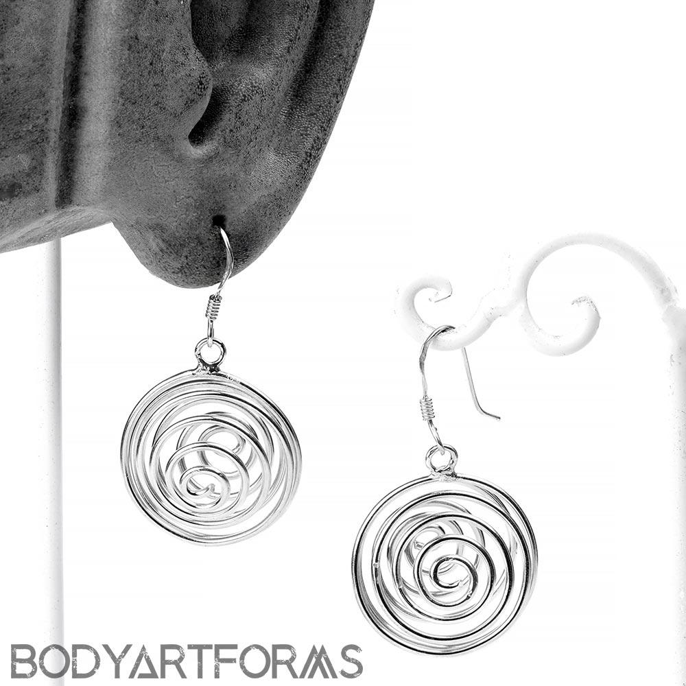 Silver Spiral Dangle Earrings