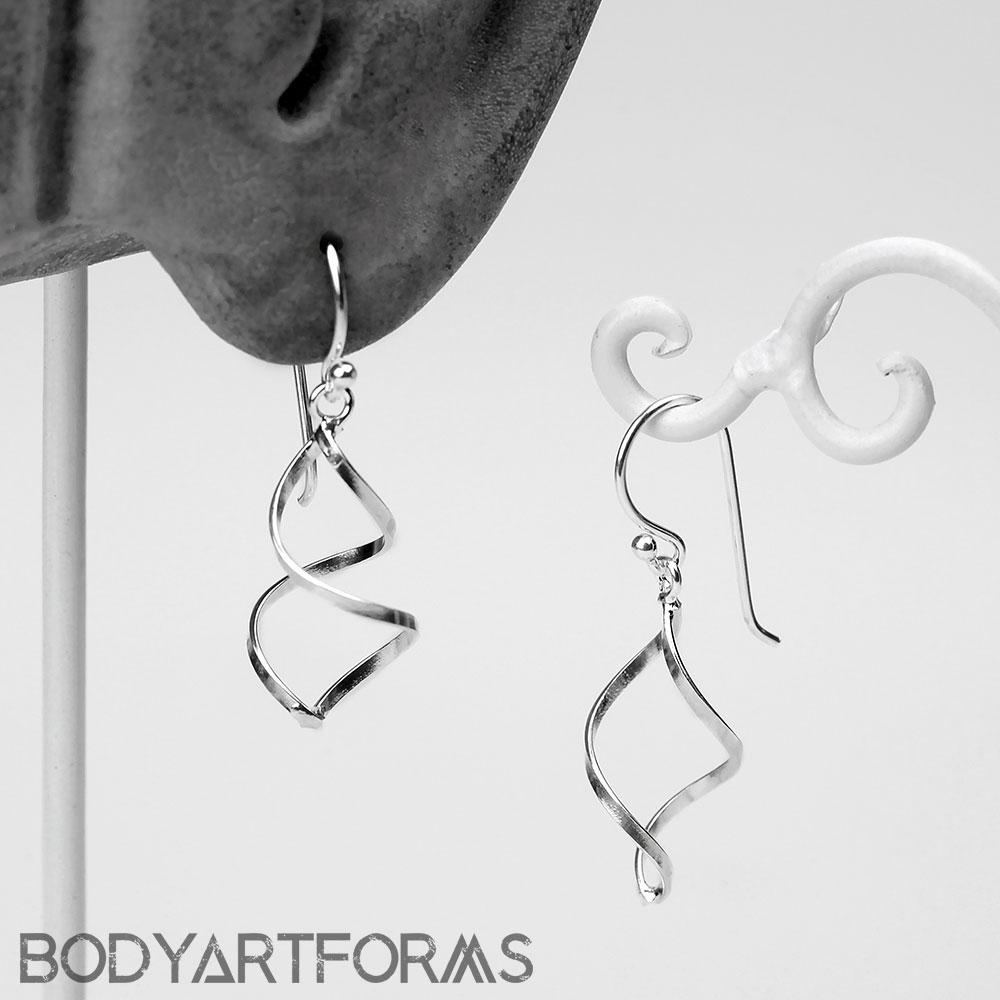 Silver Spiral Twist Dangle Earrings