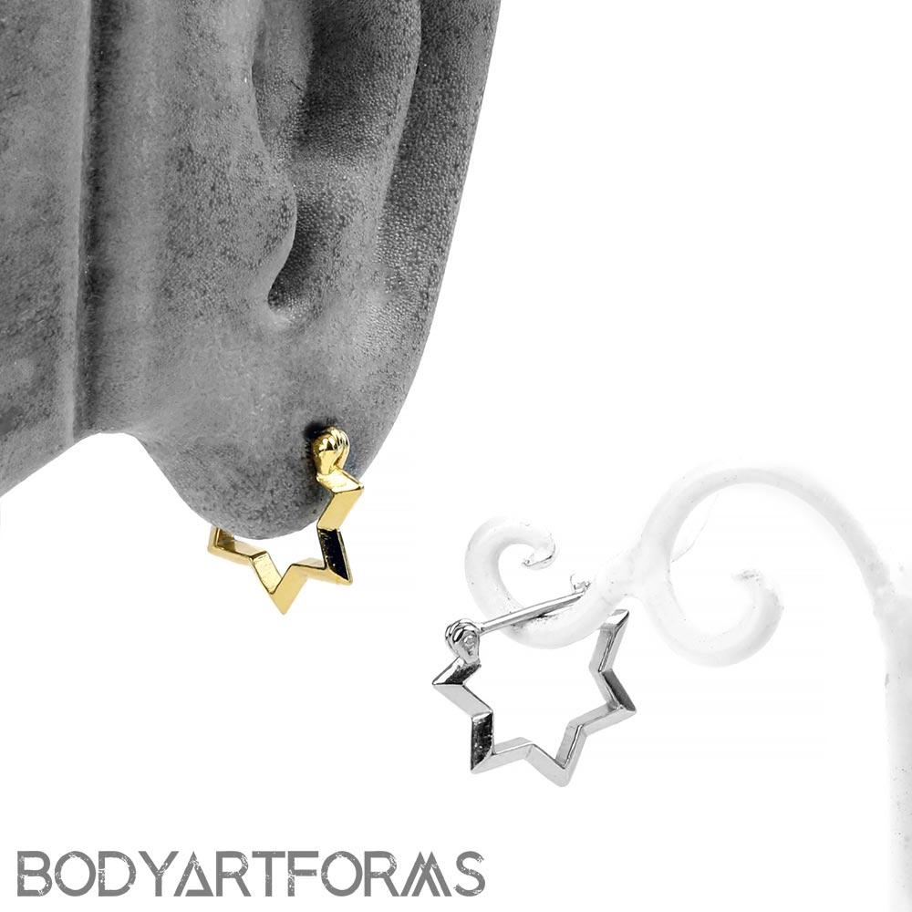 Silver Starburst Huggie Earring