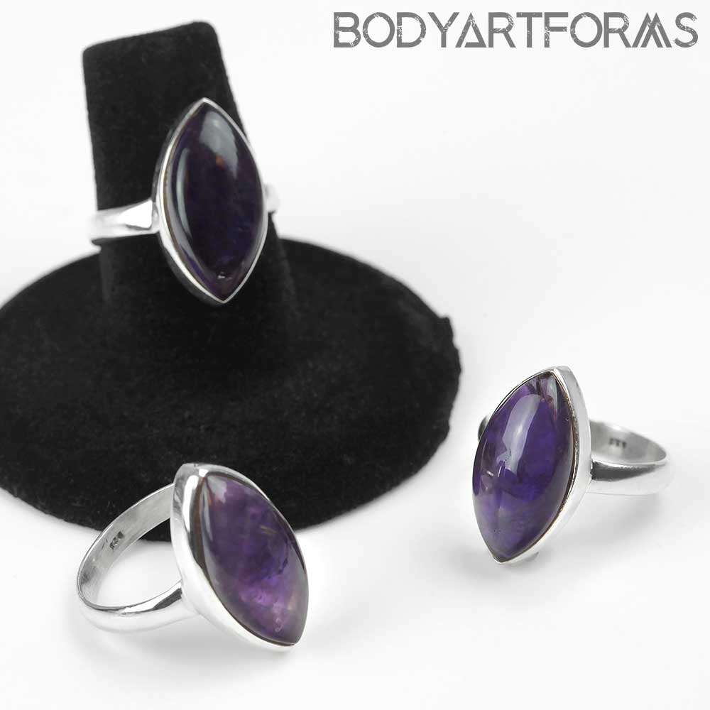 Silver and Amethyst Marquise Ring