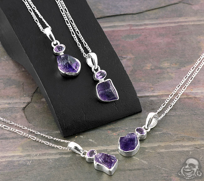 Duo Amethyst and Silver Necklace