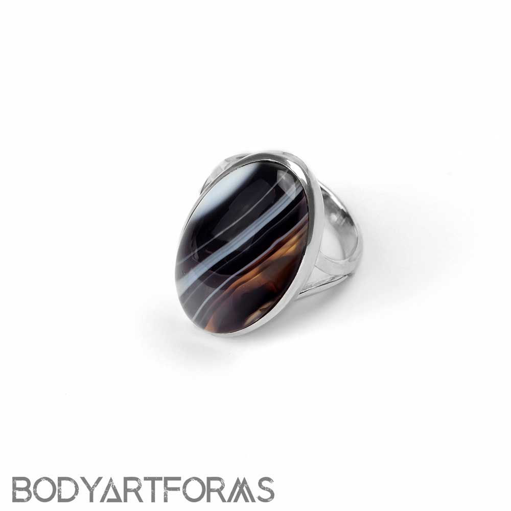 Silver and Banded Black Agate Ring