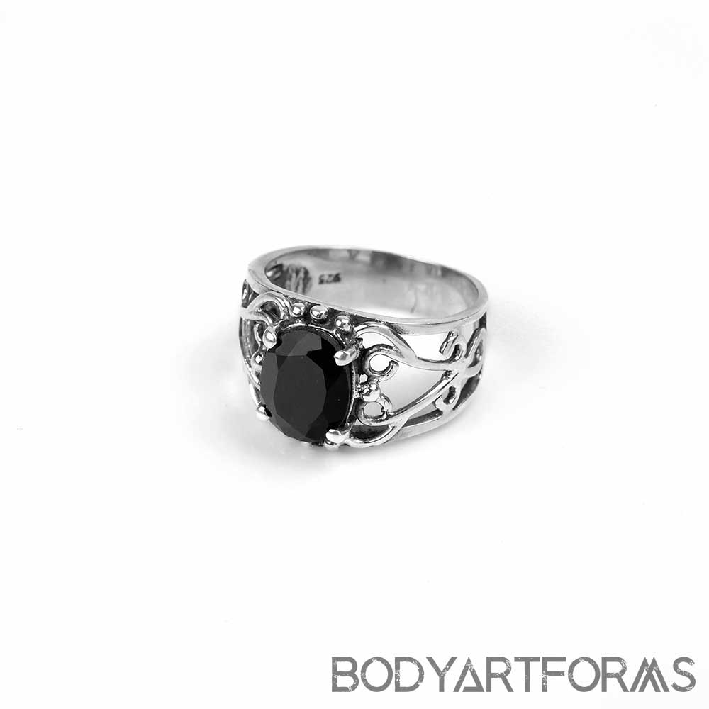 Ornate Silver Black Onyx Ring