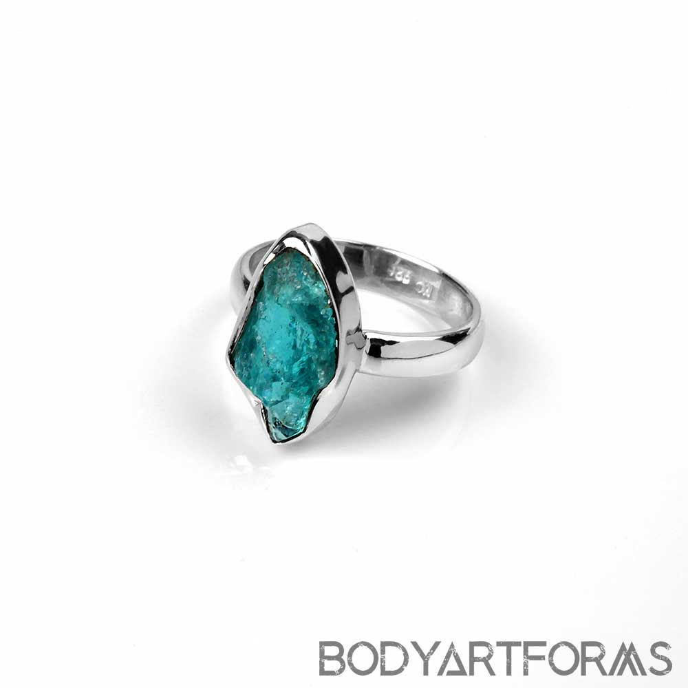 Silver and Blue Apatite Ring