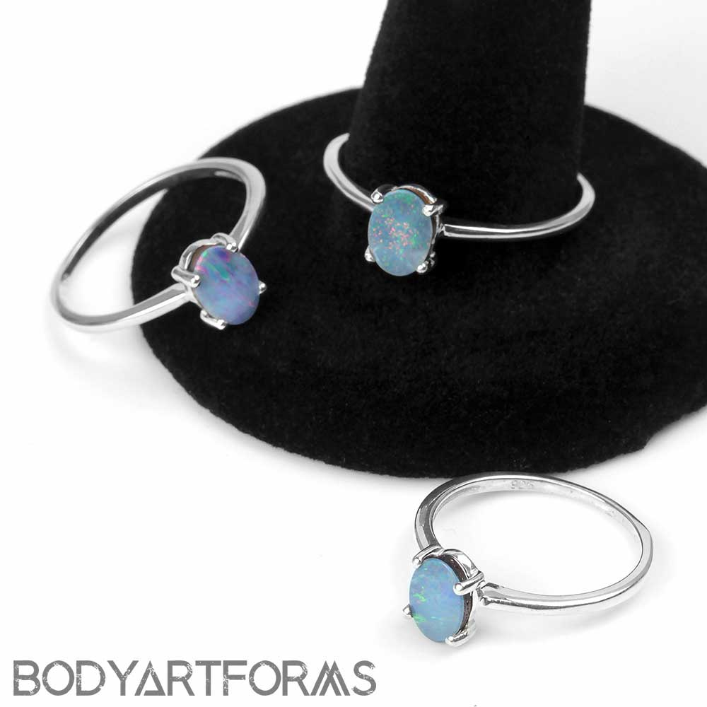 Silver and Oval Blue Opal Ring