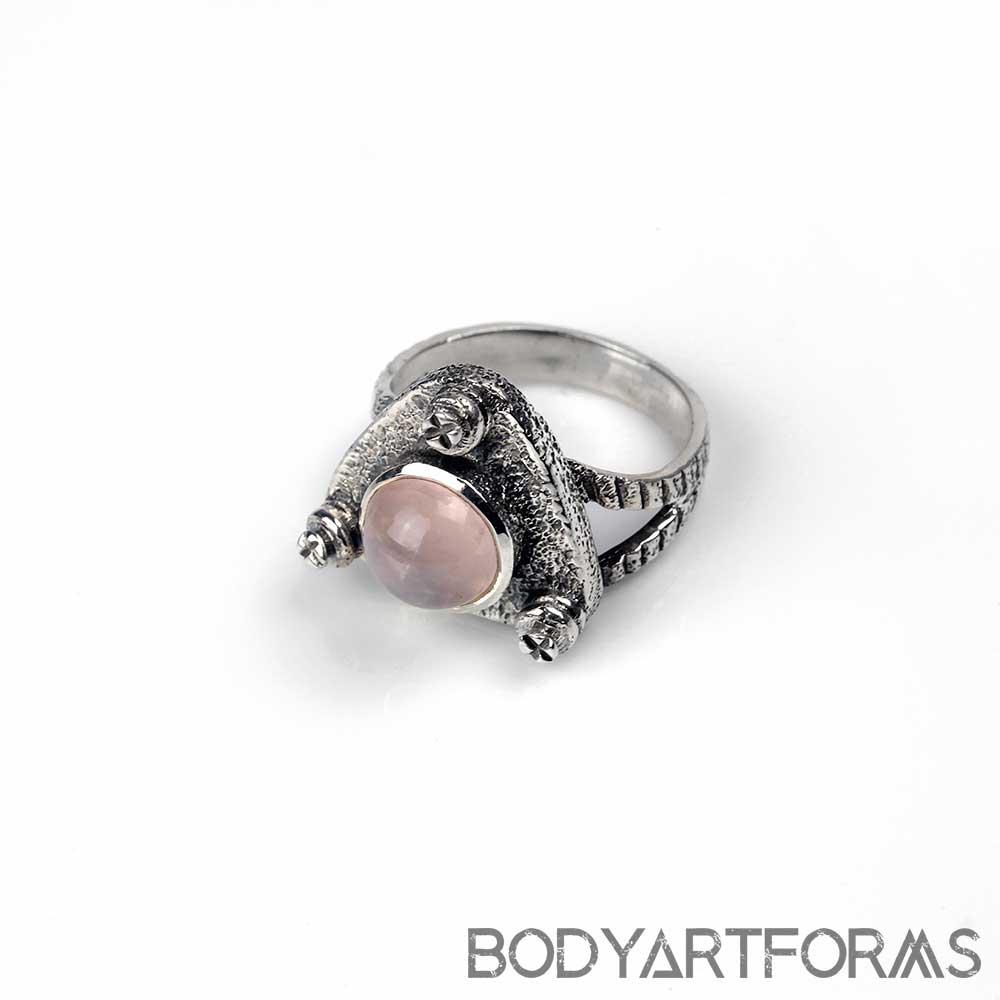 Silver Bolt and Rose Quartz Ring