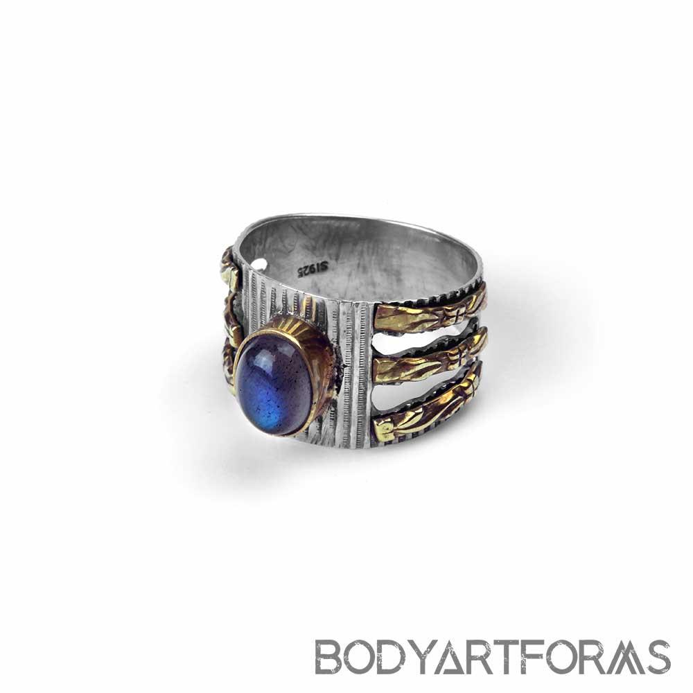 Silver and Brass Labradorite Ring