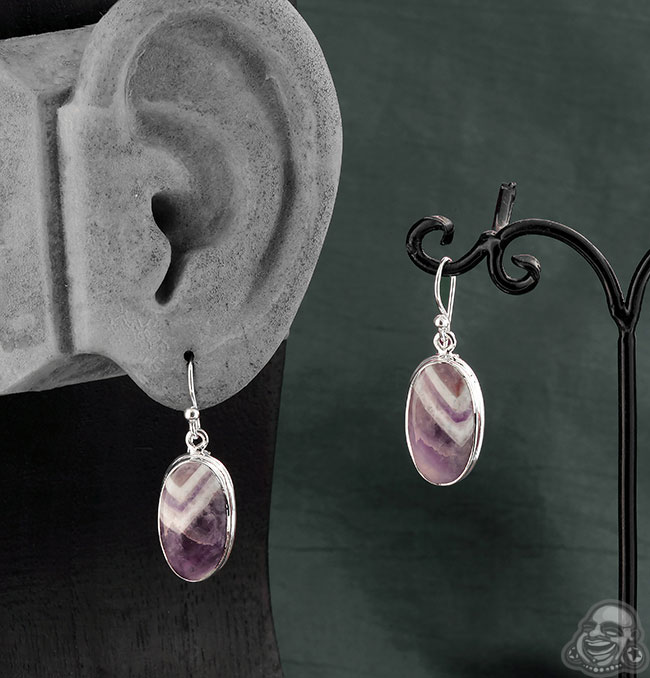 Silver and Chevron Amethyst Earrings