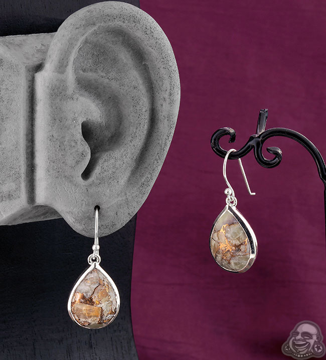 Silver and Copper Calcite Dangle Earrings