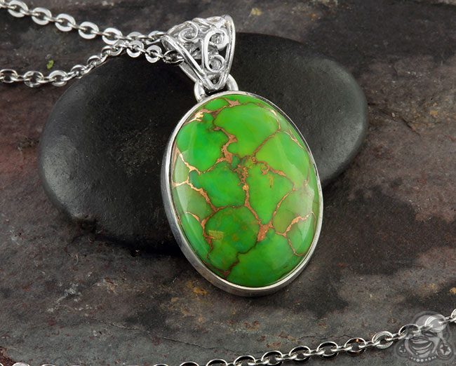 Copper Green Turquoise and Silver Necklace