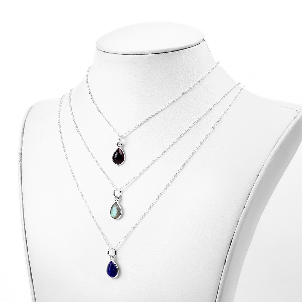 Silver and Stone Dainty Teardrop Necklace