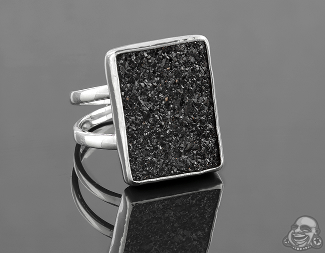 Sterling Silver and Electroplated Druzy Ring