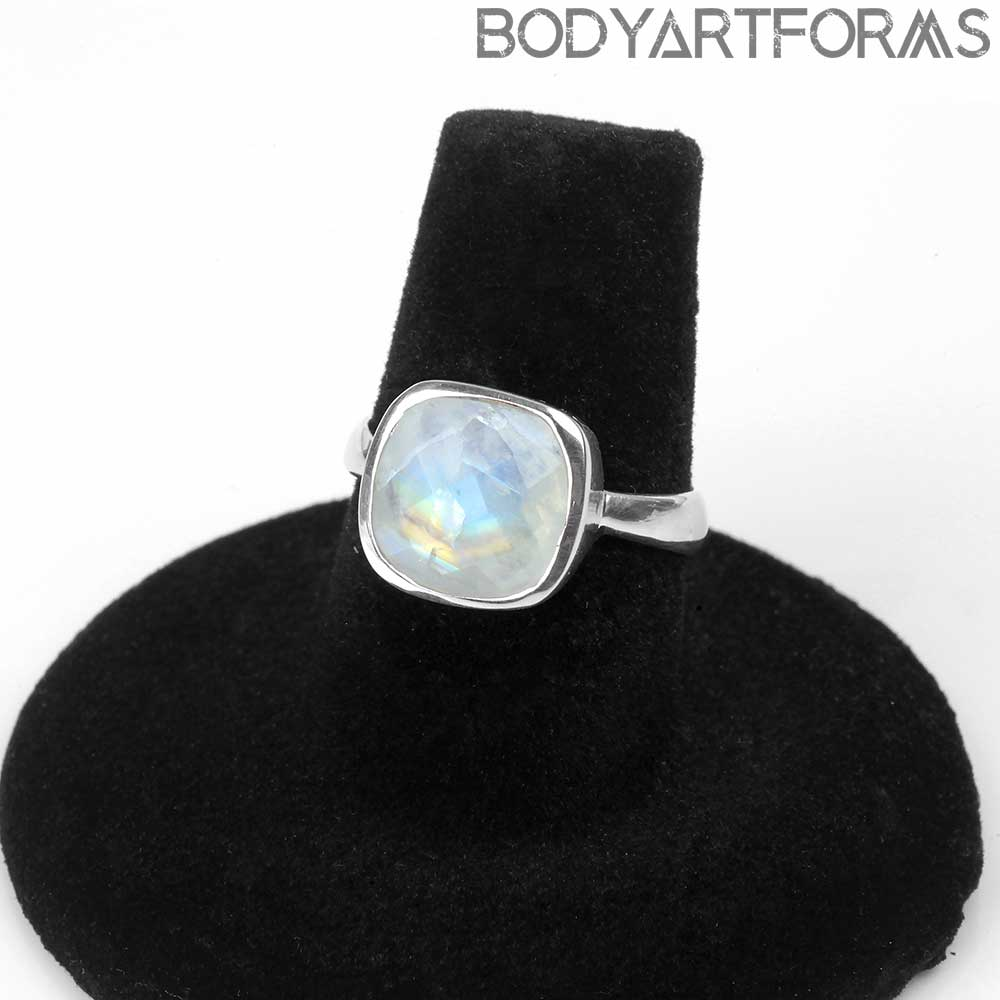 Silver and Faceted Rainbow Moonstone Ring