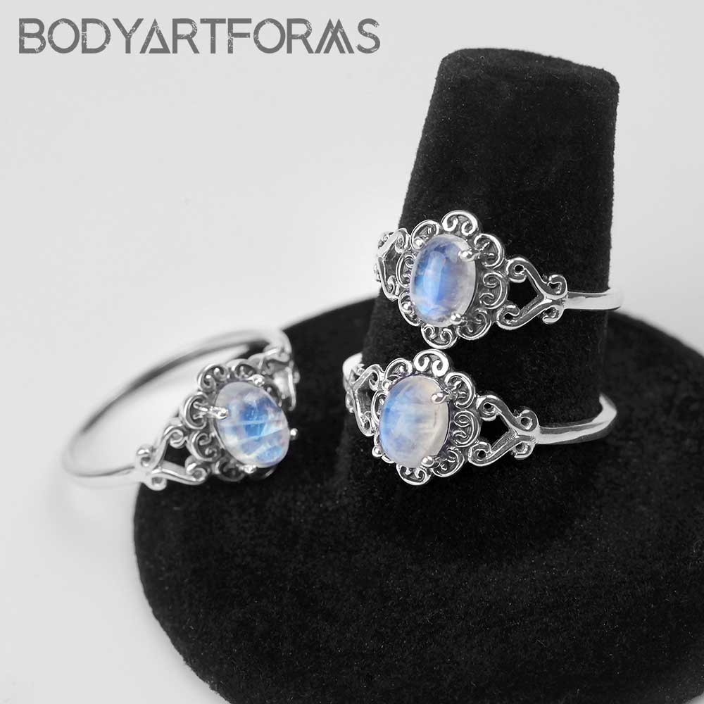 Floral Rainbow Moonstone Ring