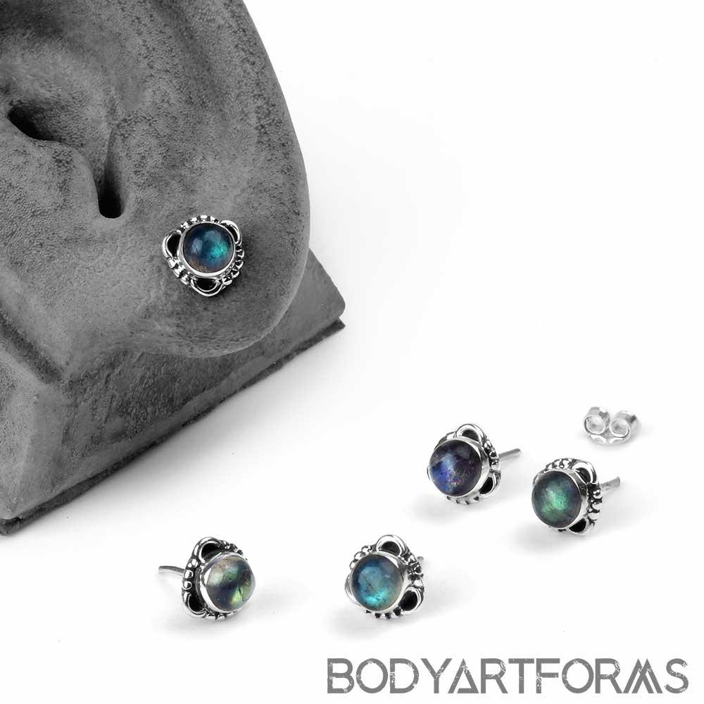 Silver Framed Labradorite Stud Earrings