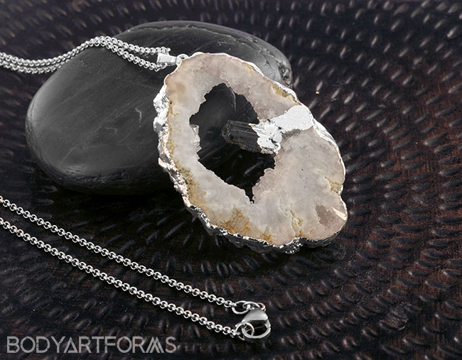 Silver Plated Geode Druzy Necklace