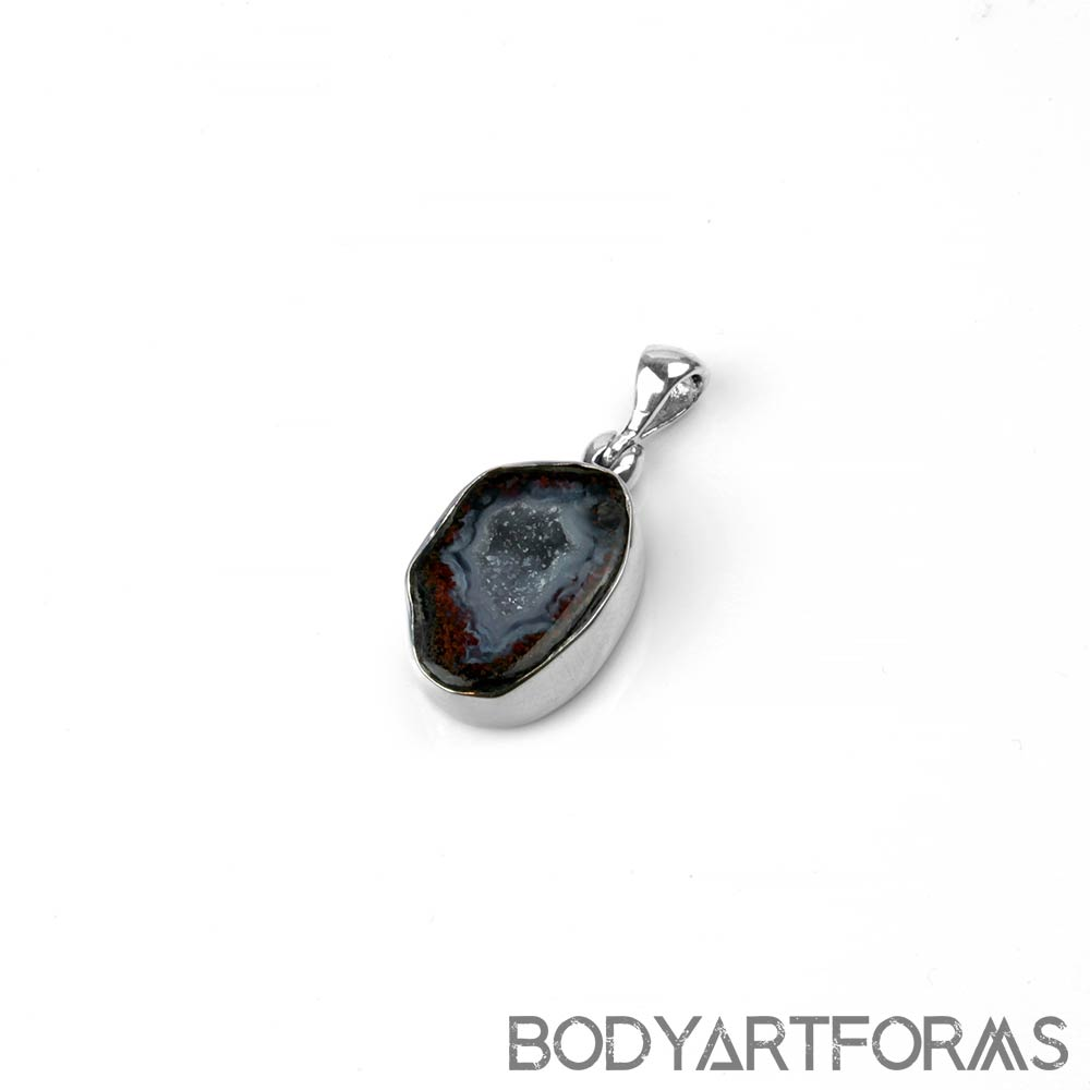 Silver and Geode Druzy Pendant