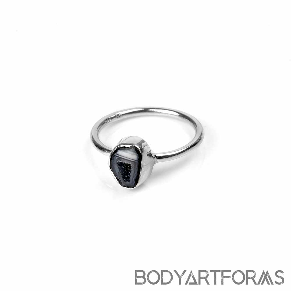 Silver and Geode Slice Ring