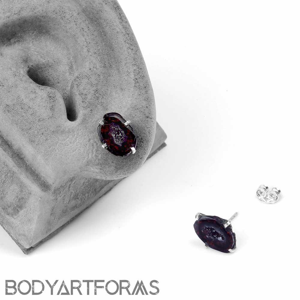 Geode Druzy Slice Stud Earrings