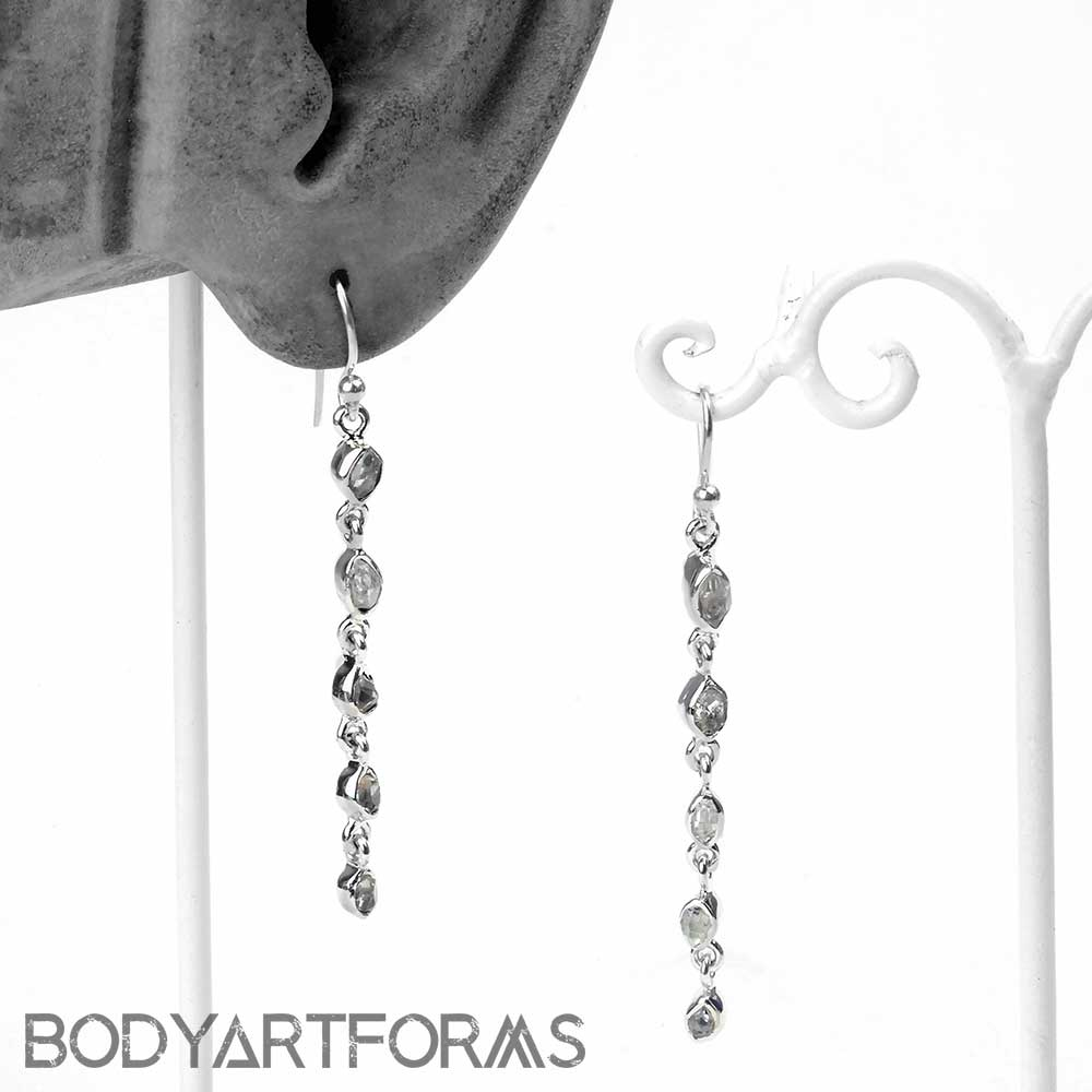 Silver and Herkimer Diamond Dangle Earrings