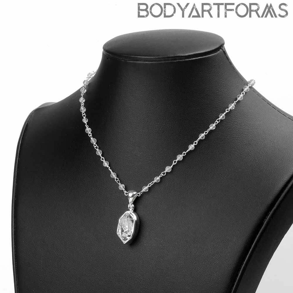 Herkimer Diamond and White Topaz Necklace
