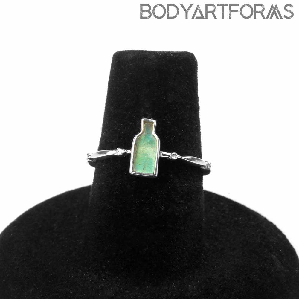 Silver Labradorite Bottle Ring