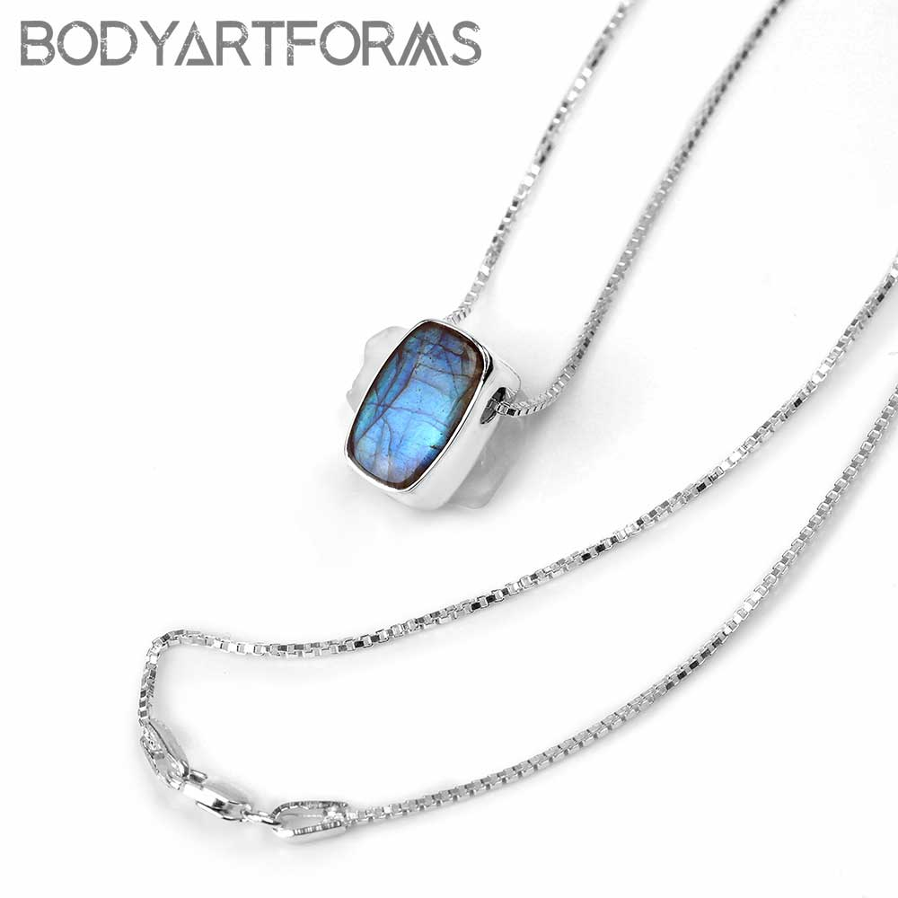 Silver and Labradorite Necklace