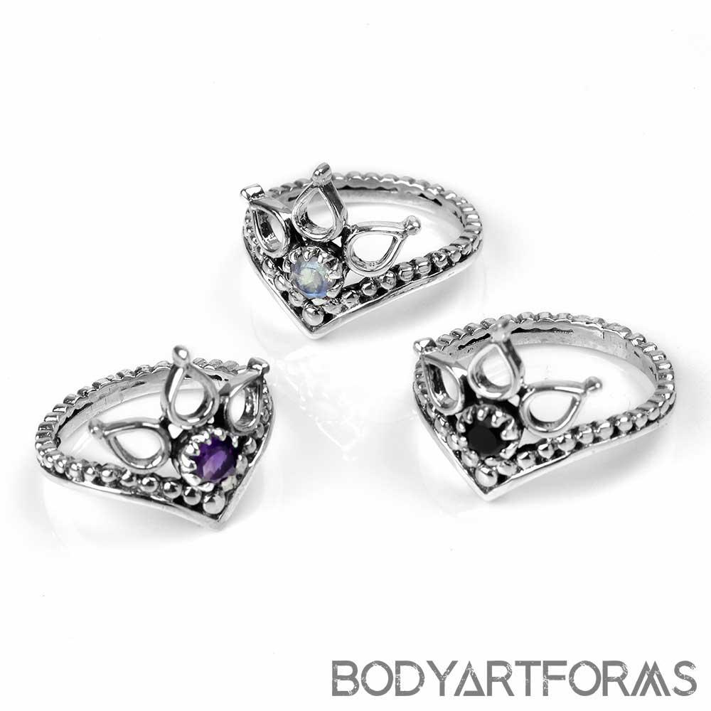 Sterling Silver Lotus Crown Ring