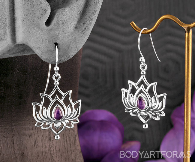 Silver Lotus and Amethyst Earrings