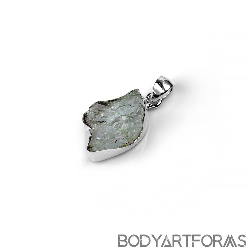 Silver and Natural Aquamarine Pendant