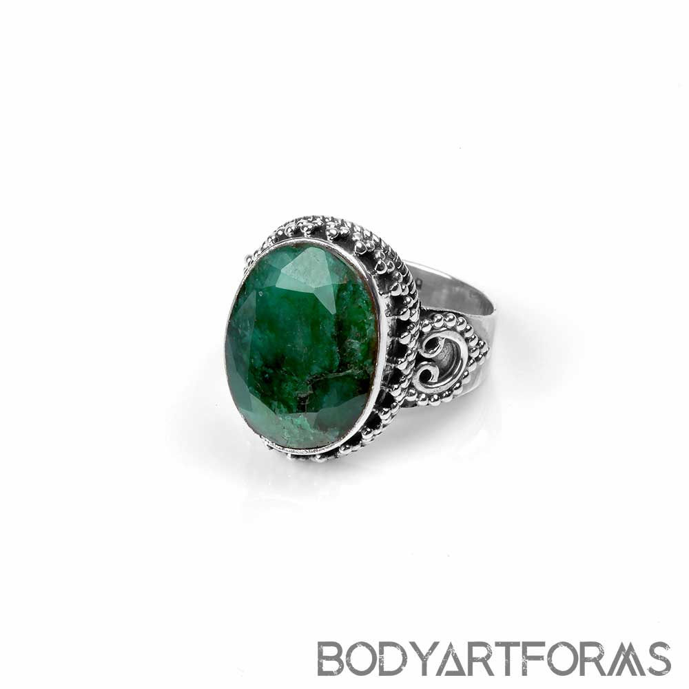 Ornate Silver and Faceted Emerald Ring
