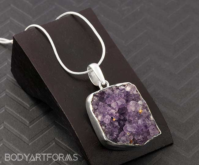 Silver Plated Amethyst Druzy Necklace
