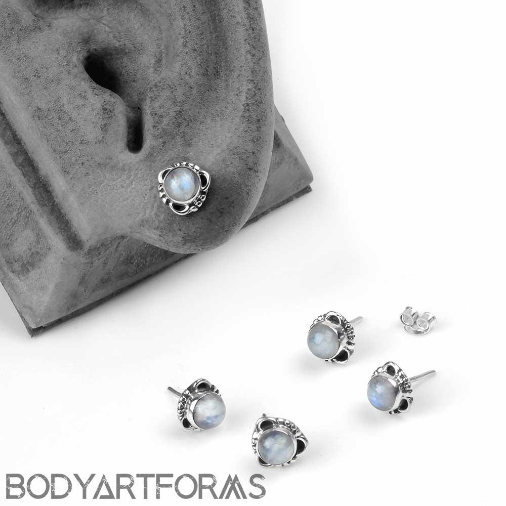 Silver Framed Rainbow Moonstone Stud Earrings
