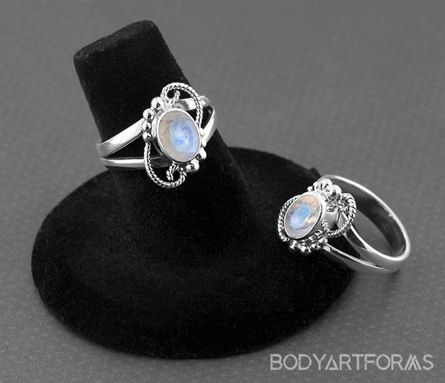 Silver and Rainbow Moonstone Whimsical Ring
