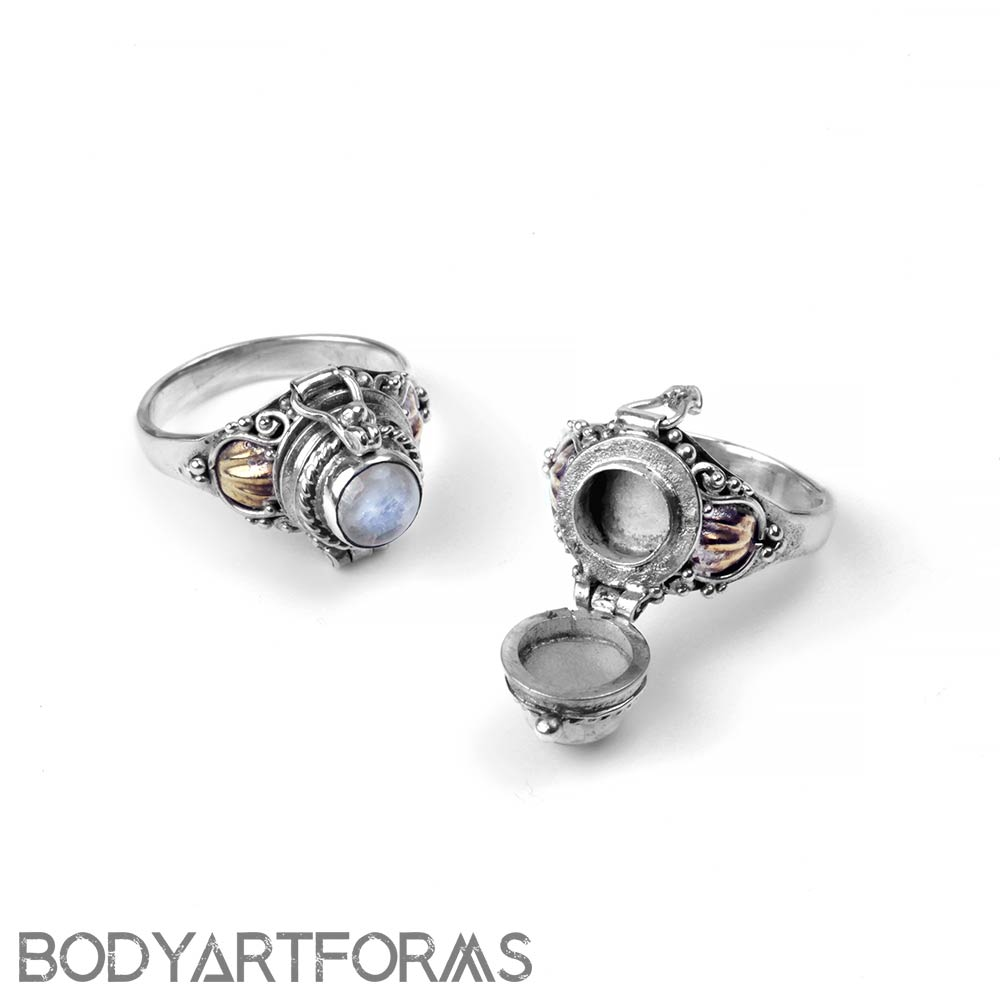 Silver and Rainbow Moonstone Poison Ring