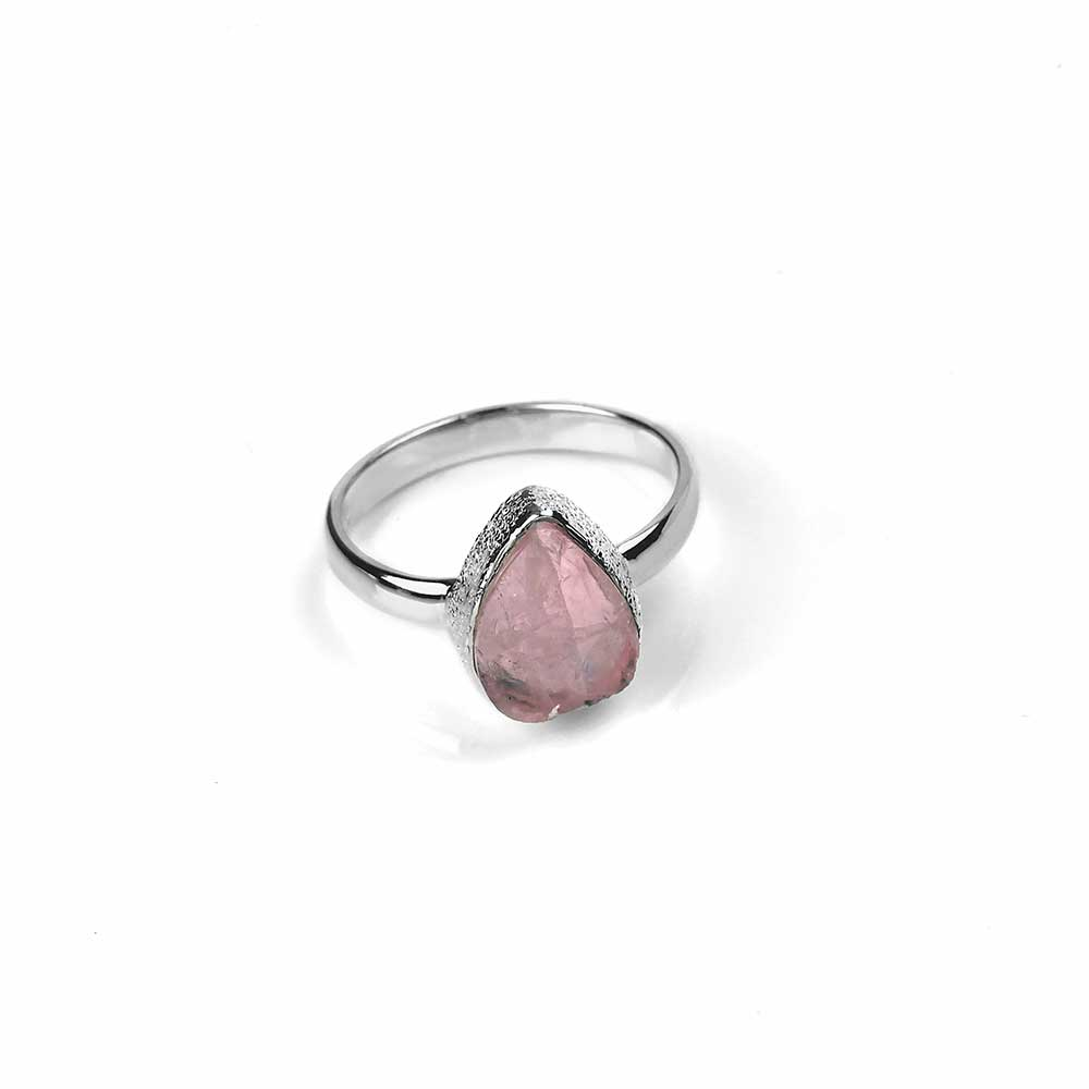 Silver and Natural Rose Quartz Ring