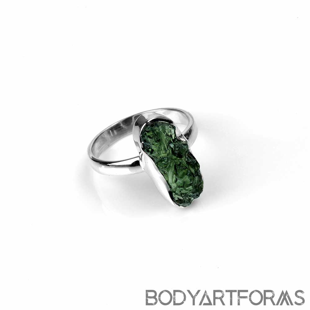 Silver and Rough Moldavite Ring