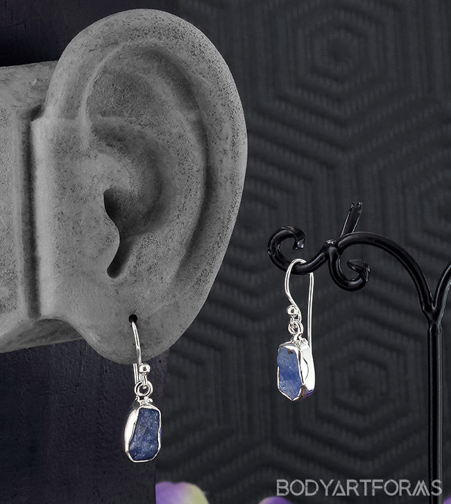 Silver and Rough Sapphire Earrings
