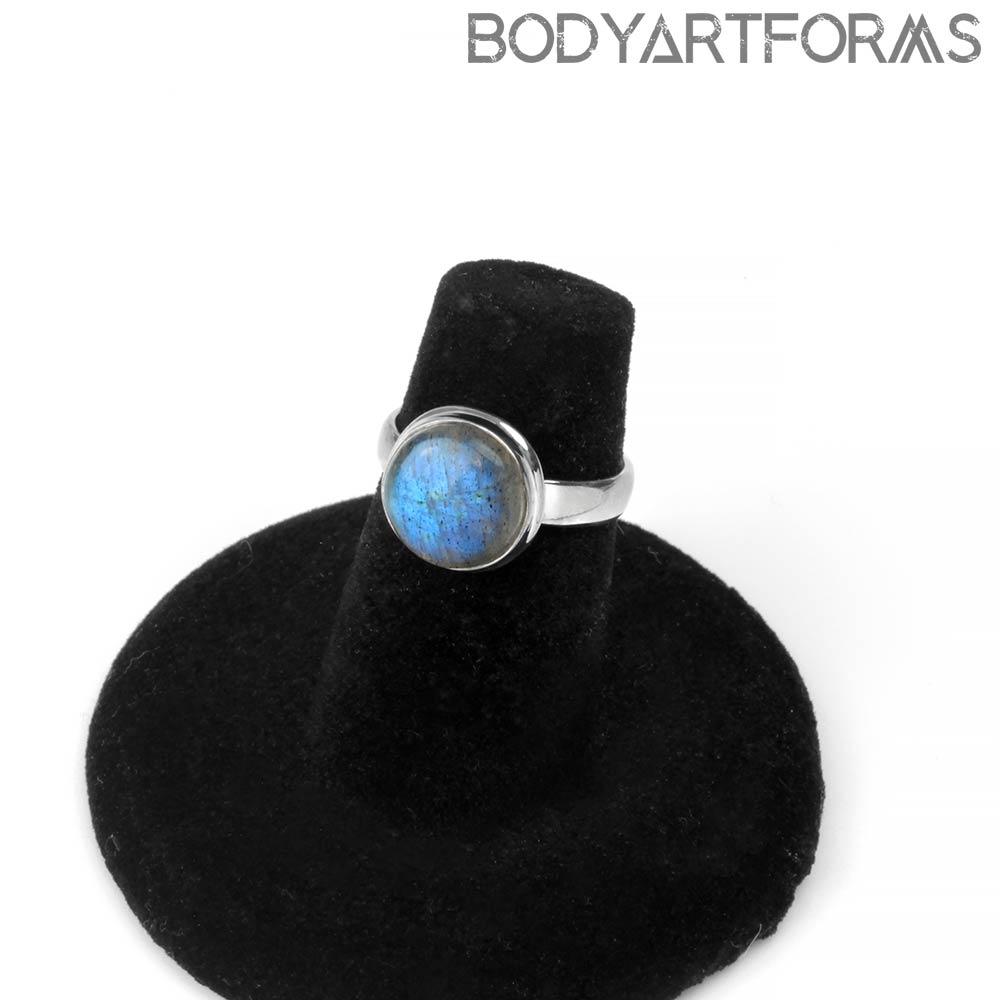 Silver and Round Labradorite Ring